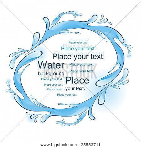Water frame. Splashes. Vector illustration.