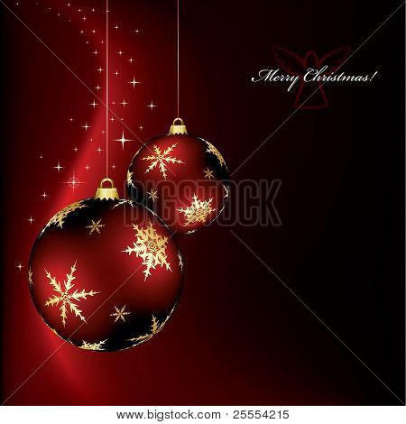 A christmas design with two red baubles