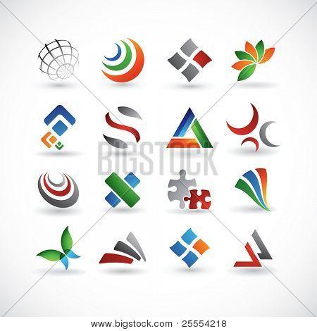 Un conjunto de 16 elementos de diseño abstracto en varios colores