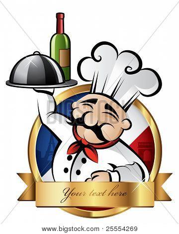 fröhlich Küchenchef serviert Abendessen mit Paris im Hintergrund Zimmer für Ihren text