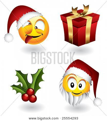 Set of vector christmas emoticons and elements - visit my portfolio to find more from this series