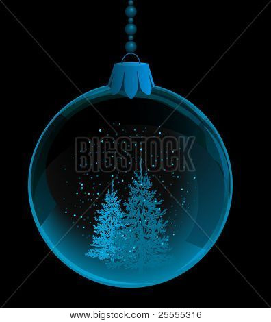 Transparent bauble with fir trees inside on black background