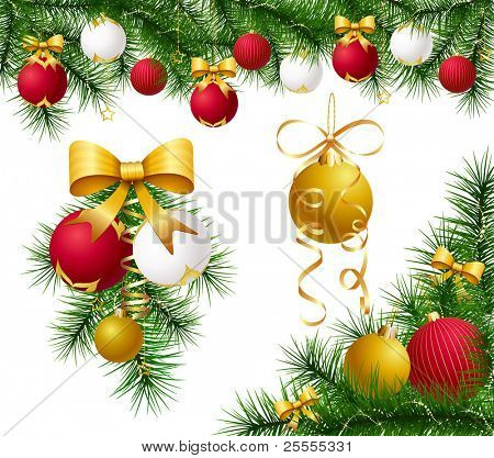 Vector set of festive decorations with baubles, bows, ribbons and fir tree branches.