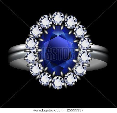 Sapphire ring - vector eps10