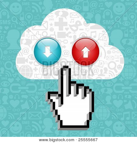 Cloud Computing Button And Cursor Hand.