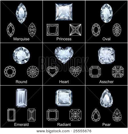 Diamantes realista vària em forma de jogo - vector