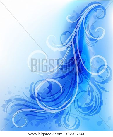 Abstract wavy background with scrolls - raster version
