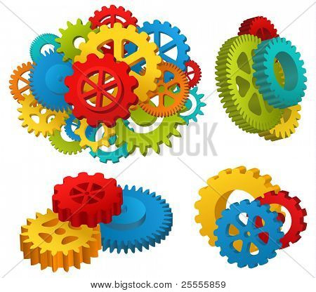 Gear mechanisms set - raster version