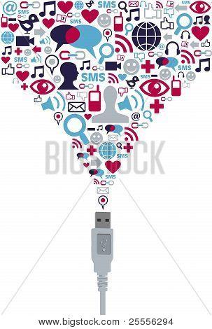 Social Media Icons splash With Usb Plug
