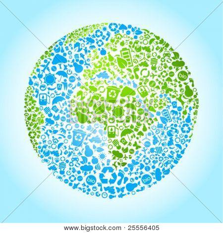 Eco terra vector icon set
