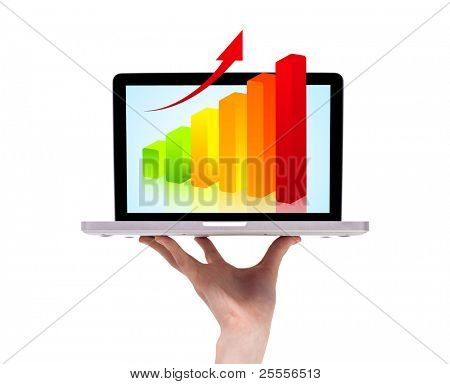 a male hand holding a laptop with chart, isolated on white
