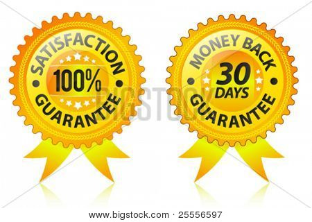 Satisfaction and money back guarantee gold labels