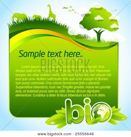 grüne Bio Vorlage mit Baum und Tierwelt