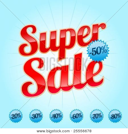 Red Super Sale lettering with sale labels