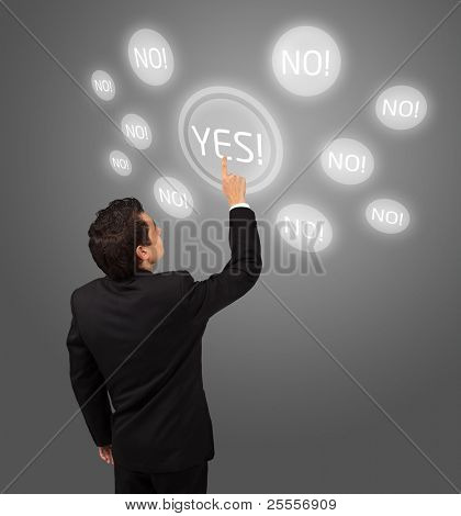 business man pressing YES button