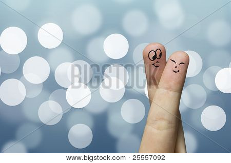Finger hug with Blue Abstract Lights