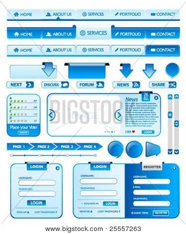 Big collection of blue web design elements 2