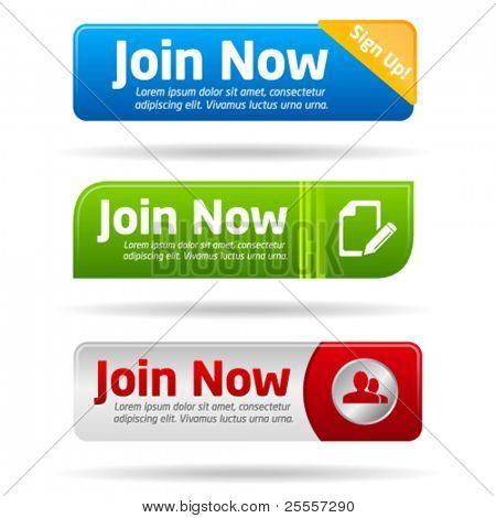 Únete colección ahora moderno botón mínimo