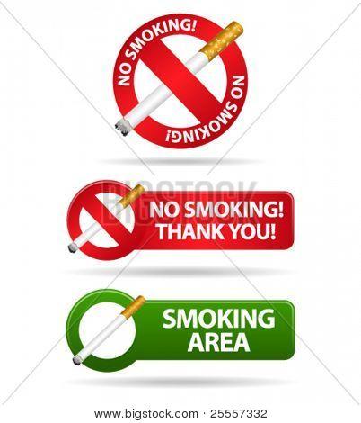 Não fumar e fumar sinais de zona