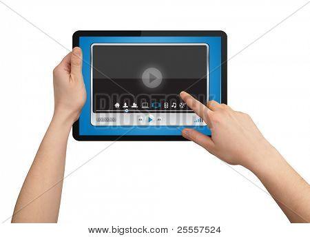 Una mano hombre sosteniendo un touchpad multimedia reproductor de vanguardia