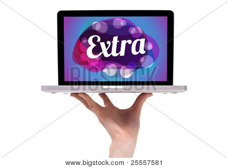 a male hand holding a laptop with abstract extra sign, isolated on white