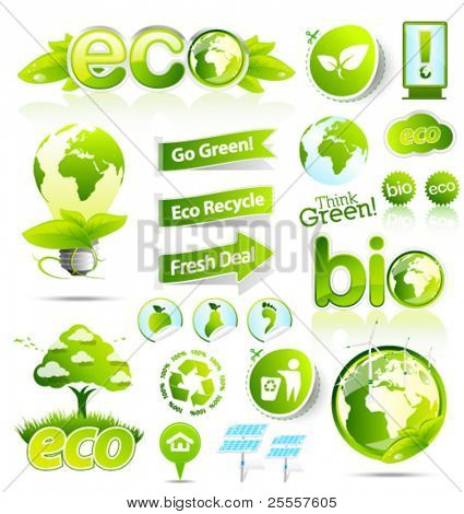 Huge collection of green eco and bio vector elements