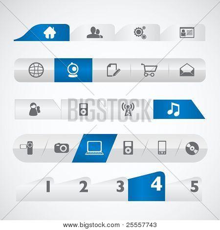 Blue silver web menu template set
