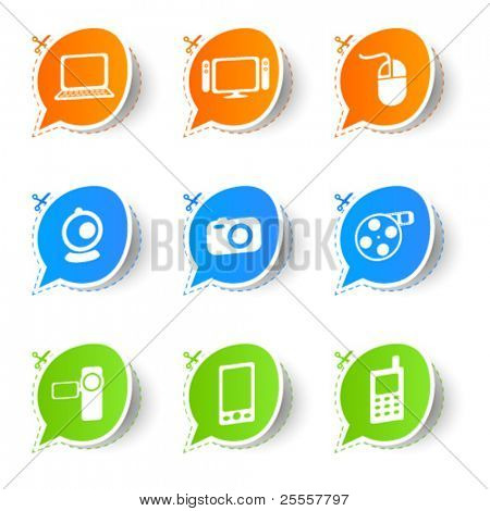 Colorful bubble icon sticker collection 2