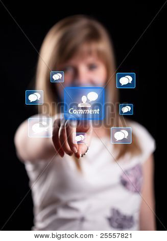Woman hand pressing Comment button, backround in bokeh
