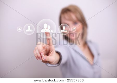 Woman pressing social friend button with one hand