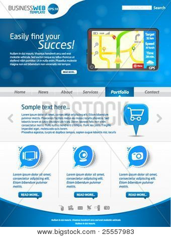 Moderne blau Business-Website-Templates mit gps