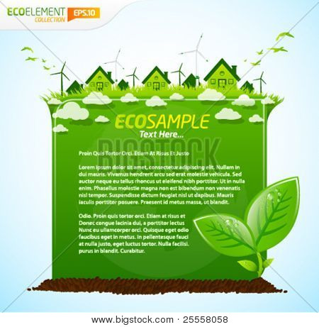 Green eco sample template with leafs, clouds and houses