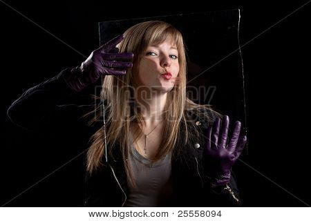 Crazy girl kissing glass 2, black background