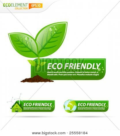 Green eco friendly template banner collection