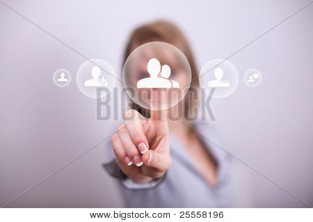 Woman pressing social button with one hand