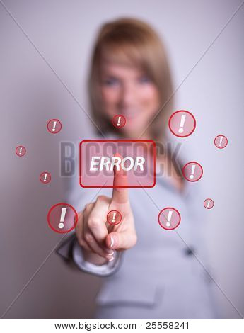 woman hand pressing ERROR button