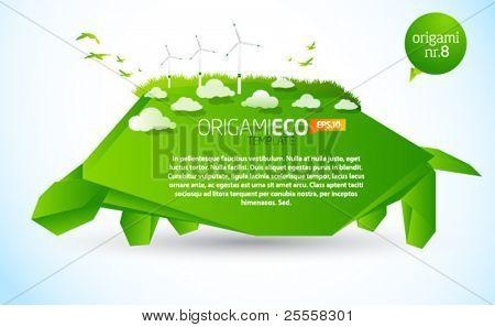 Origami verde eco tartaruga nr. 8