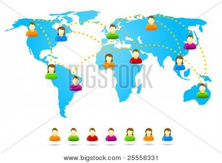 Colorful social media people communication on the world map