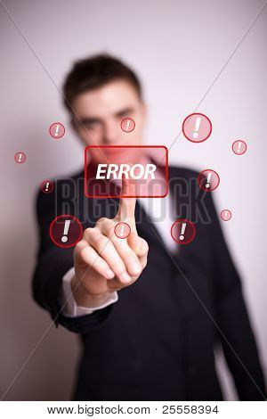 Man pressing error button with one hand