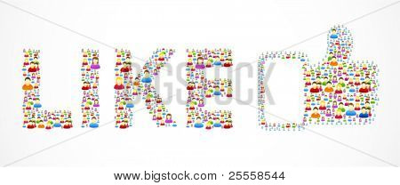 Colorful like button made out of colorful social people