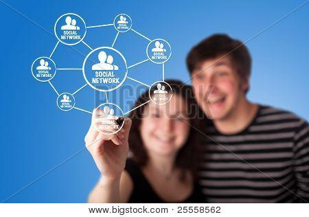 Web 2.0 Diagramm zeigt social-networking-Konzept