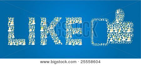 Blue like button made out of social people icons