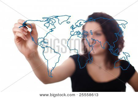 woman drawing the world map in a whiteboard 2 (on bokeh)