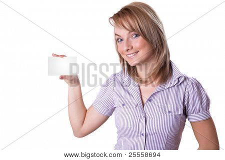 Business card - Portrait of a beautiful business woman holding a blank notecard