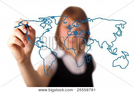woman drawing the world map in a whiteboard (on bokeh)  3