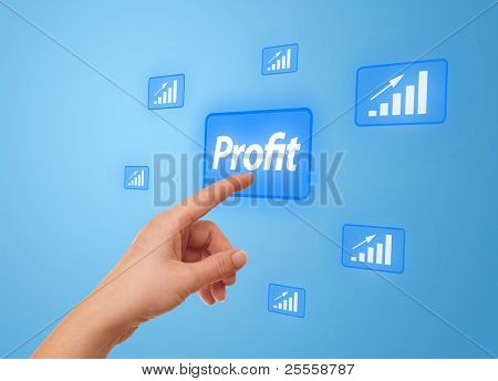 woman hand pressing Profit button