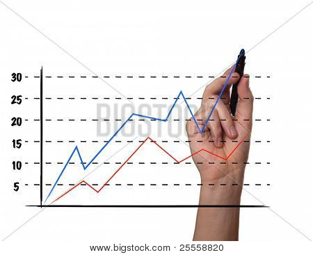 Businessman drawing a graph on a glass screen, isolated on white background