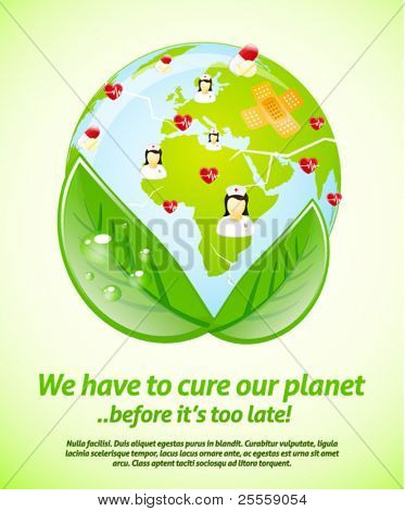 Cure our planet vector illustration template
