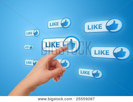 woman hand pressing Social Network icon