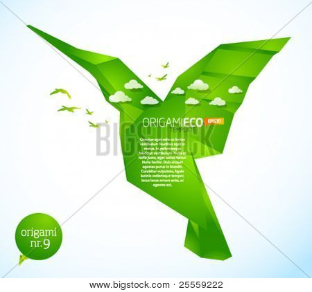 Eco friendly green origami template hummingbird